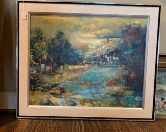 Parker Lee Mid Century Modern Abstract Painting Leo Leibsohn Original oil canvas