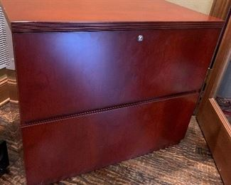 Walnut wood veneer Lateral Filing Cabinet provides more than enough storage for files, office supplies, and other essentials. The two drawers are equipped for hanging