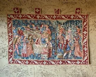 Goblys Vendage European tapestry features a remarkable representation of the grape-gathering method and the wine-press used in medieval times and is composed on a mille-fleures background.The original design was woven in Tournai in the 15th century and hangs in the Cluny Museum in Paris.  $45