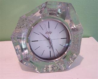 Heavy Vintage Lofty Crystal Step Quartz Clock By Hoya