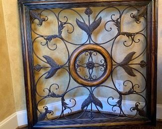 """49"""" X 49"""" huge metal and wood ornate piece for any wall"""