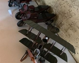 Berkeley vintage model T or A and 2 motor cycles. 1 no-plane EX condition Cast Iron Stagecoach, unmarked, great condition.