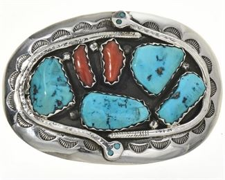 Zuni Turquoise Coral Vintage Snake Buckle by Effie Calavaza   This Zuni Turquoise Coral Vintage Snake Buckle is not only authentic Indian jewelry but it's a highly collectible treasure from Effie Calavaza. Circa 1970's, this was made by Effie using natural, Kingman nuggets, $350