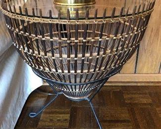 Vintage fishing basket base design side table