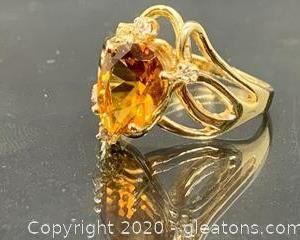 Yellow Citrine & Diamond 14K ring