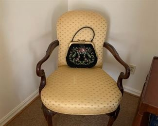 #1Yellow wood arm side chair  $75.00