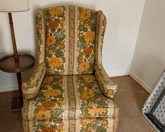 #2yellow flower wingback chair  $75.00