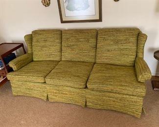 #3green mid century button back sofa 82 long $75.00