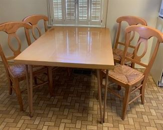 #14Blonde Wood Table w/4 chairs Metal Legs 52x36x29 $120.00