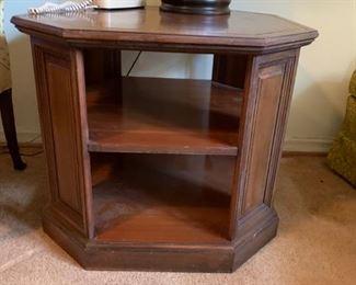 #18Octagonal Wood  End Table 28sqx24 w/2 shelves $75.00
