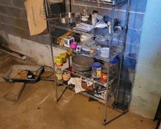 basement shelving and items