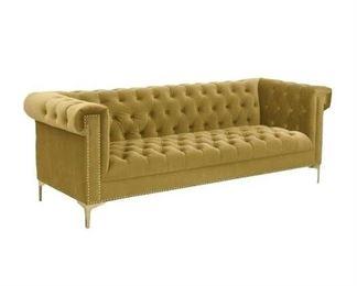 Mercer41 Batts Gold Polyester Chesterfield Sofa