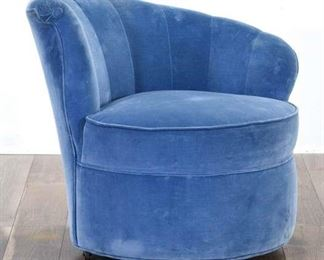 Art Deco Tiffany Blue Slope Clam-Back Accent Chair