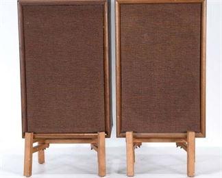 Pair Quadraflex Mid Century Modern Speakers W Stands