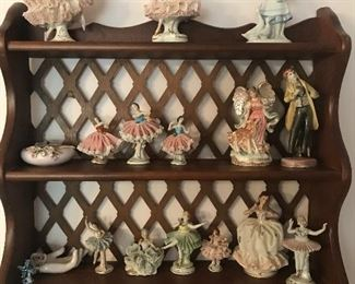 Dresden ballerina figurines & nice wall shelf
