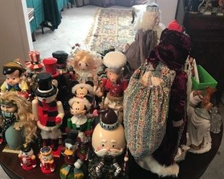 Nutcrackers on antique round table