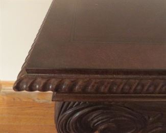 Carved Mahogany Chippendale Ball & Claw Console Table Rope carved Front Skirt (detail)