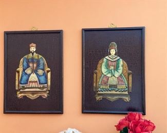 Wooden Emperor and Empress Wall Plaques