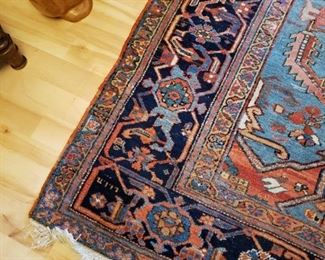 Very Large Handwoven Semi-Antique/Vintage Wool Persian Carpet with Signature and Date - approximately 9 x 12.  Absolutely beautiful color... and some wear.