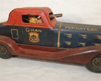 14IN LATE 1930'S MARX G MAN KEYWIND CAR