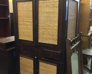 wicker and wood armoire or TV cabinet