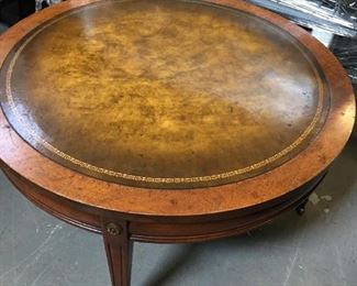 faux leather top rolling coffee table