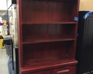 red painted shelf cabinet