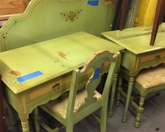 green painted desk and chair and headboard and dressers