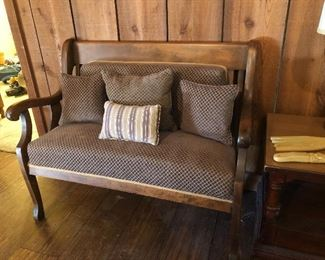 Antique Reupholstered Church Parlor Bench