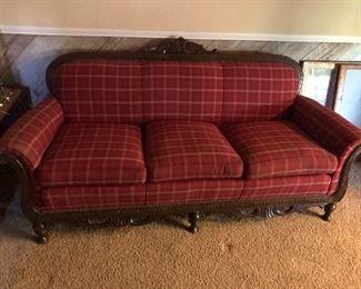 Antique Red Plaid Victorian Sofa