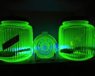1930's Anchor Hocking Vaseline - Uranium Glass Cookie Jars