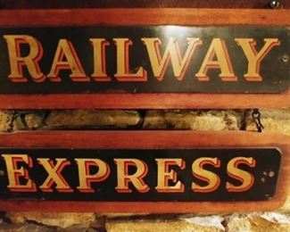 Antique 2 pc Railway Express Sign