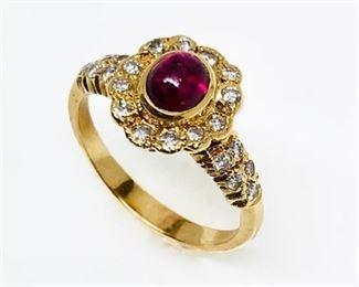 Lot 001 Egyptian 14 Karat Ruby and Diamond Ring