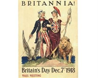 "Lot 001 Original 1918 WWI ""Side By Side Britannia!"" Poster"