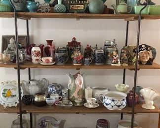 HUGE Assortment of Collectibles...McCoy, Verboan, Flemish Art, Meito Norleans, John Haddock & Sons, Fenton, Johnson Bros, Rangoon, Haviland, Ripon, Burleigh Ironstone, Charles Meakin, Royal Staffordshire, Spode, Red Wing, Royal Doulton, Limoge, ...