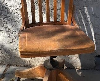 Vintage Wood Swivel/Rolling Office Chair