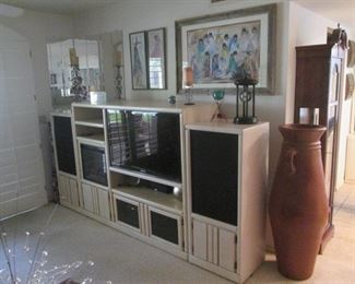 LIVING ROOM:  Entertainment Unit, TV,                          Plus Electric Fireplace & Wall-Mount Mirrors
