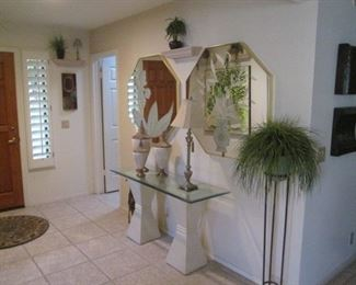 ENTRY HALL GROUPING:  Console with Glass Top & Pedestal Bases, MCM Wall Mirrors & Plant Stand