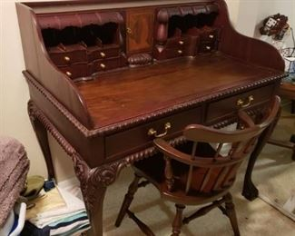 Ornate Antique Walnut Secretary Desk - Dovetail Drawers-Hidden Compartments - Claw Feet -Includes Matching Chair