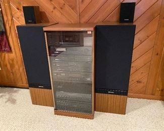 REDUCED PRICE $350 FOR WHOLE SYSTEM!Kenwood stereo system & cabinet; Kenwood speakers.  Pricing for individual components add up to $630.  Will sell complete system for $500.  Here are the listed components:  JL1080AV Speakers $200; LSK-01S Bookshelf speakers $15; Power Amplifier KM-208 $90; Stereo Control Amp KC206 $80; Quartz Synthesizer Stereo Tuner KT-58 $25; AV Surround Processor $35; Disc Player DP-M98 $40; Dual Cassette Deck $25; Tuner KT88 $20; Turntable KD-45F  $75; Cabinet $25