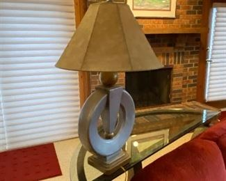 Metal, (bronze)  & glass half moon sofa table $275 & lamps; $75 each (2 available).