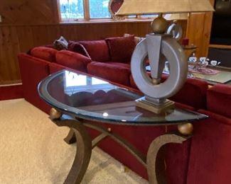 Metal & glass half moon sofa table