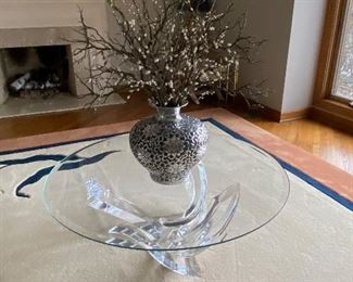 Glass sculpture coffee table