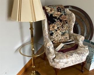 Side chair; lamp/table