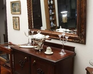 Another view of antique server with silver plated chafing dish.