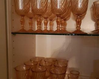 Pink Swirl Glass Sets