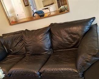 Custom leather sofa matching love seat