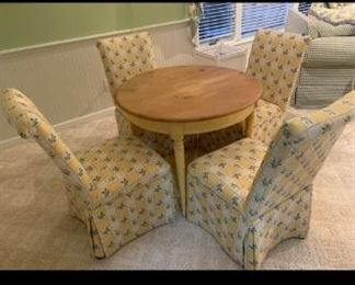 Round Wooden Table and 4 Chairs $200 (some light cat scratches on chair)