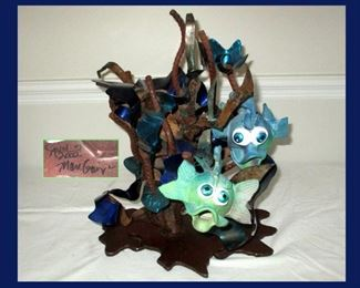 Crazy Cool Signed Fish Sculpture, Base and Fish are All  Signed