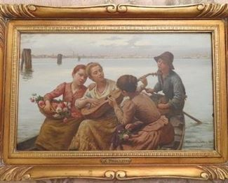 Antique Oil Painting on Board by Renowned Venetian Artist Antonio Ermolao Paoletti (1834-1912)  signed lower right.